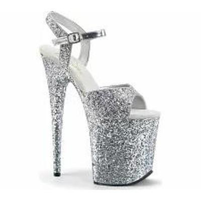 Pleaser レディースサンダル Pleaser Flamingo 810LG Ankle-Strap Sandal Silver