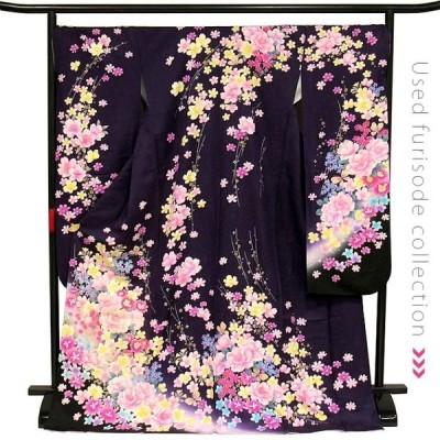 振袖 成人式 中古 正絹 仕立て上がり Aランク No,063 濃紫 季節の花々と蝶 LLサイズ