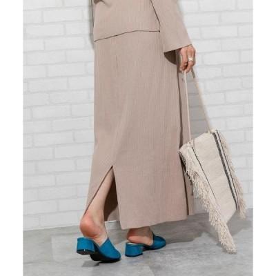 スカート テレコリブロングスカート(セットアップ対応)