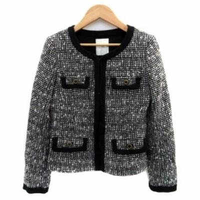 【中古】ウィズパフォーマンス ジャケット ノーカラー ショート丈 ツイード ウール混 7AR 黒 ブラック 白 レディース