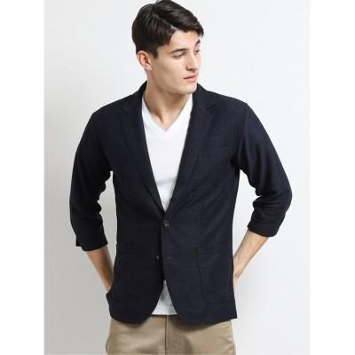 【タカキュー】 トリッキー杢リップル半端袖ジャケット メンズ ネイビー L TAKA-Q