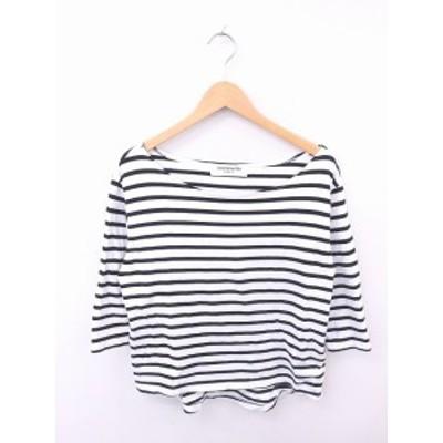 【中古】L'EFFRONTEE カットソー Tシャツ ボーダー ボートネック 綿 コットン 長袖 白 黒 ホワイト ブラック /TT26 レディース