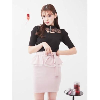 EATME 2WAYペプラムスカート(ピンク)