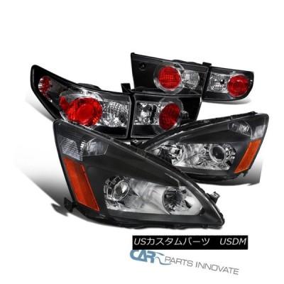 ヘッドライト フィット03-05ホンダアコードセダン4Drブラックプロジェクターヘッドライト+タイ  lブレーキランプ Fit