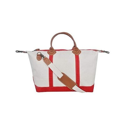Tag&Crew Signature Duffle Bag, Large, Made of 20 oz. Heavy Cotton Canvas, Size 15 H x 28 W x 10 D Inches - Red