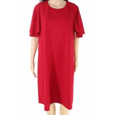Maggy London マギーロンドン ファッション ドレス Maggy London Womens Red Size 18 Flutter Sleeve Crepe Shift Dress