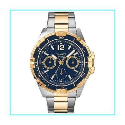 Timex メンズドレス多機能スチール45mm腕時計 ツートーン/ブルー。