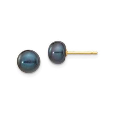 14 kイエローゴールド7ミリメートルブラックボタン淡水養殖真珠スタッドポストピアスボールファインジュエリーギフト用女性用彼女