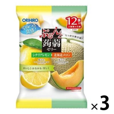 ぷるんと蒟蒻ゼリーパウチ シチリアレモン+北海道メロン 3個 オリヒロ 栄養補助ゼリー