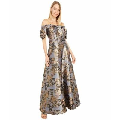 アドリアナ パペル ワンピース トップス レディース Petite Floral Jacquard Off Shoulder Puff Sleeve Gown Moonlight Blue