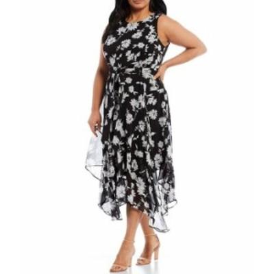 カルバンクライン レディース ワンピース トップス Plus Size Sleeveless Floral Asymmetrical Hem Ankle Length Dress Black Cream