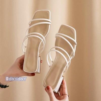 サンダル レディース 履きやすい 夏 サンダル ストラップサンダル ヒール ミュール シンプル 太いヒール 歩きやすい 美脚 大人 新作 3色