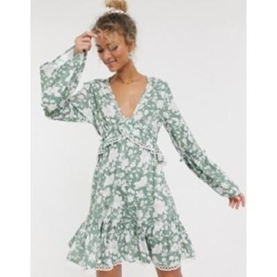 エイソス レディース ワンピース トップス ASOS DESIGN fluted sleeve open back skater mini dress with lace inserts in floral print