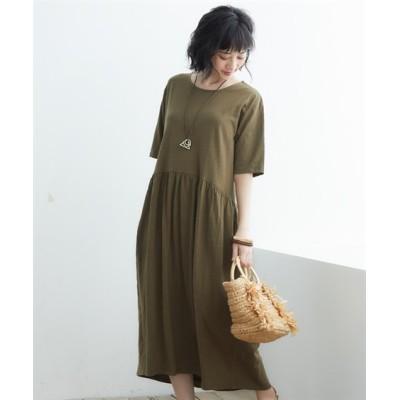 【ゆったりワンサイズ】5分袖カットソーマキシ丈ワンピース (ワンピース)Dress