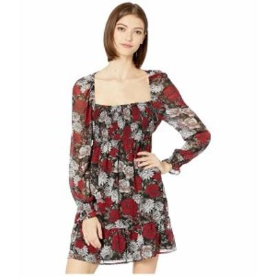 ビービーダコタ レディース ワンピース トップス I Touch Roses Winter Printed Crinkle Chiffon Square Neck Dress with Smocking Black