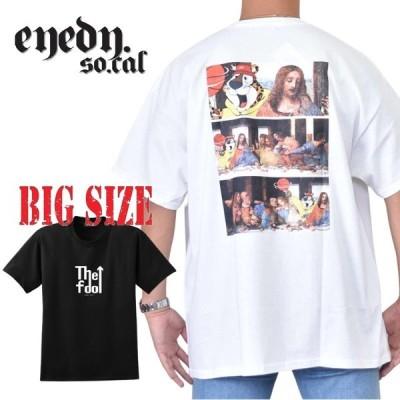 大きいサイズ メンズ EYEDY アイディー 3WELL 半袖Tシャツ プリント 黒 ブラック 白 ホワイト [M便 1/1] XXL XXXL