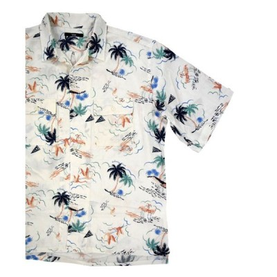 【SALE】60%OFF アロハシャツ SALE NICOLE (vital) ニコル ヴィタル  プリントオープンカラーシャツ ホワイト ブリックスモノ