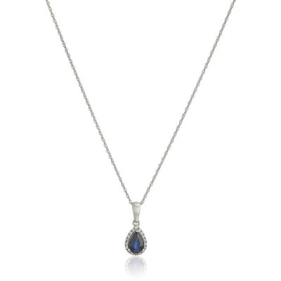 10k White Gold Blue Sapphire and Created White Sapphire Pear Halo Pend