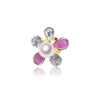 アコヤ真珠 ピンブローチ 花 宇和島 真珠 ジュエリー・アクセサリー・Tensei Pearl 天成真珠 - ピンク (あこや パール ブローチ 本真珠 カジュアル 誕生日…