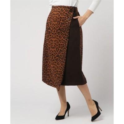 スカート ヒョウ柄異素材ラップスカート
