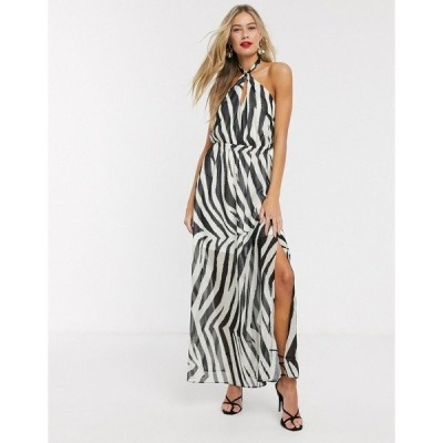 リプシー レディース ワンピース トップス Lipsy x Abbey Clancy halterneck swing dress in zebra print Multi