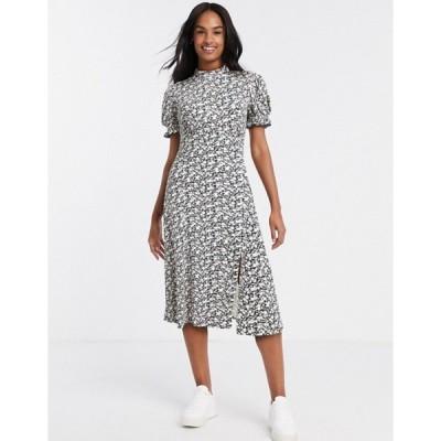 ミスセルフフリッジ レディース ワンピース トップス Miss Selfridge puff sleeve midi dress in black floral