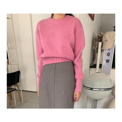 レディース ニット/セーター Wave Round Crop Knit