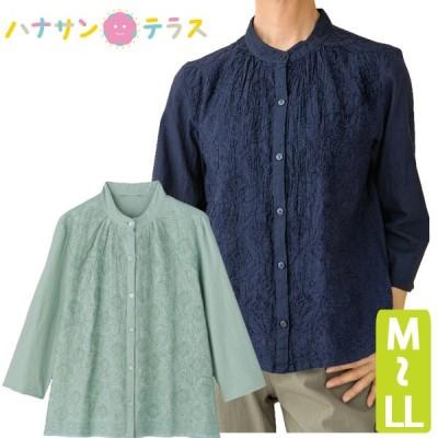 シニアファッション レディース 60代 70代 80代 ブラウス 7分袖 刺繍 春夏 涼しい おしゃれ M L LL 高齢者 服