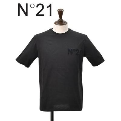 N°21 ヌメロ ヴェントゥーノ メンズ ブラック半袖Tシャツ 胸ワッペン ラウンドネック 上品 大人カットソー イタリアブランド  国内正規品