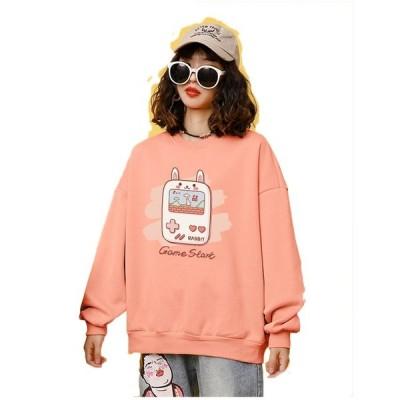 レディース 韓国風  長袖 パーカー  ファッションプリント 甘いフルスリーブ t シャツ  高品質  おしゃれ 可愛い 春