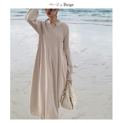 【la-gemme】キーネックニットワンピース (ワンピース)Dress