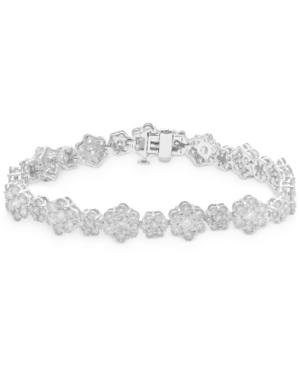 Diamond Flower Cluster Link Bracelet (10 ct. t.w.) in 14k White Gold