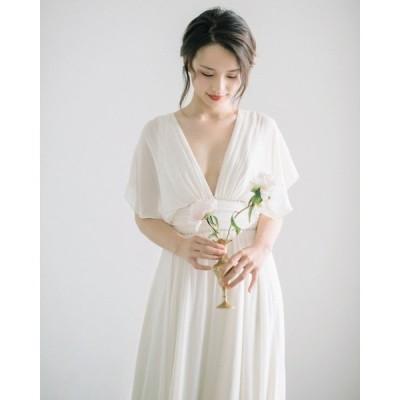 [一部即納] ウェディングドレス マタニティ 袖あり 大きいサイズ ウエディングドレス 白 二次会 花嫁 バックレス Vネック 結婚式 妊婦 エンパイア