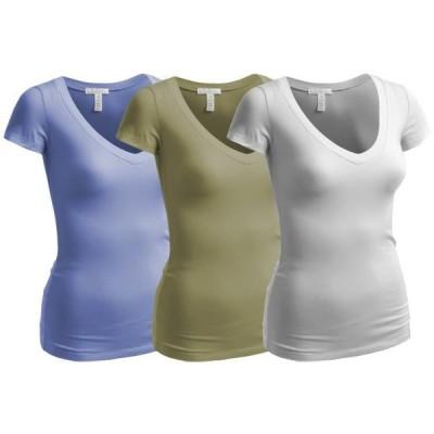 レディース 衣類 トップス Essential Basic Women's Plain Short Sleeve V Neck T Shirts - 3Pk - Wht L Olive P Blue S