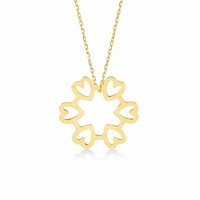 GELIN 14k Yellow Gold Circle Hearts Pendant Statement Pendant Necklace for Women | Heart Jewelry Gift for Her
