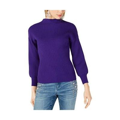 並行輸入品INC レディース リブ編みプルオーバー モックタートルネックセーター US サイズ: Large カラー: パープル