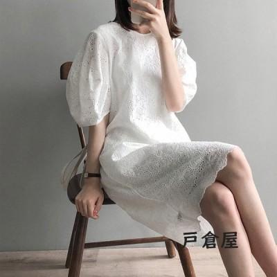 レディースワンピース韓国風40代マキシワンピース花刺繍白レーススカート春夏半袖ワンピースマタニティーワンピースオシャレ上品