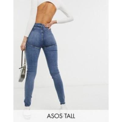 エイソス レディース デニムパンツ ボトムス ASOS DESIGN Tall hourglass high rise 'lift and contour' skinny jeans in dark midwash M