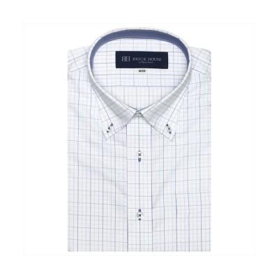(BRICKHOUSE/ブリックハウス)ワイシャツ 半袖 形態安定 ボタンダウンメンズ/メンズ ブルー