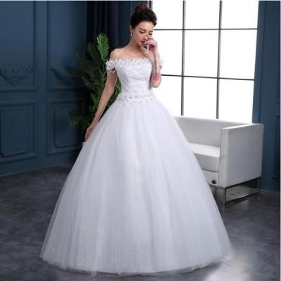 新作綺麗 ウェディングドレス レース シンプル 花嫁 結婚式ブライダル 披露宴 二次会 エンパイア プリンセスライン ドレス wedding dress