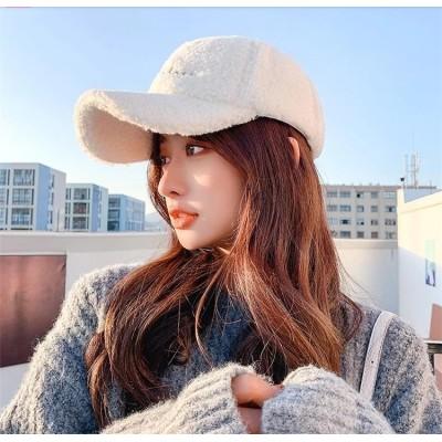 1枚でカタチが変わる。ラムウール 帽子 レディース 秋と冬 百掛け ぬいぐるみ キャップ 韓国版 トレンド 気質 ラムウール 野球キャップ