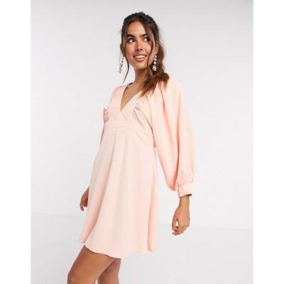 アックスパリ レディース ワンピース トップス AX Paris v front mini dress in peach Peach