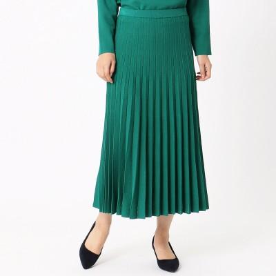 コムサイズム COMME CA ISM ニット プリーツスカート (グリーン)