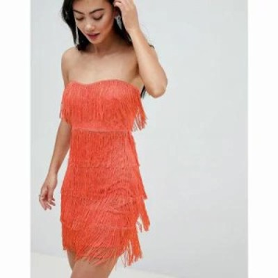 エイソス ワンピース ASOS DESIGN Petite lace insert fringe bandeau mini dress Coral