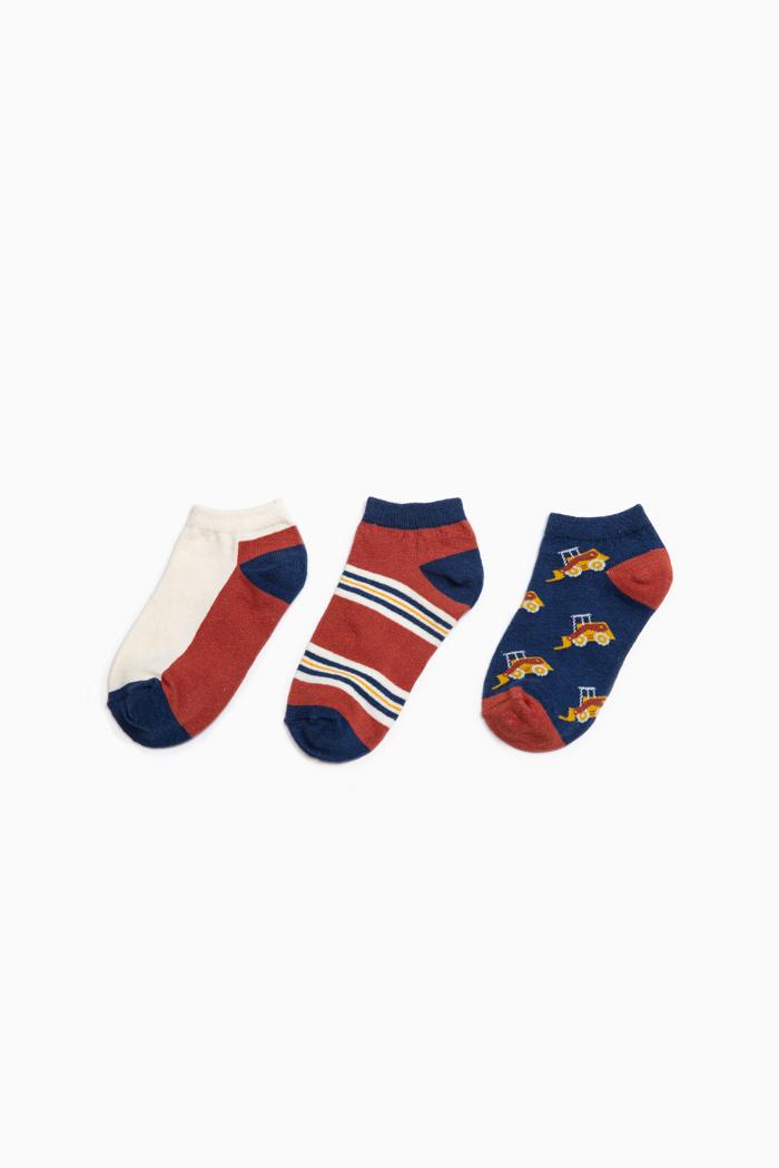 (男童三入組)宇宙探險.舒棉踝襪(推土機/色塊/條紋)