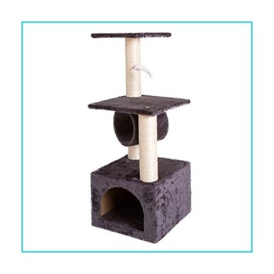 """Noomer Cat Climb Tree 36"""" Solid Cute Sisal Rope Plush Cat Tower, Pet Stand House Furniture Play Activity Tower, Gray【並行輸入品】"""