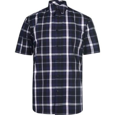 ピエール カルダン Pierre Cardin メンズ 半袖シャツ トップス Check Print Short Sleeve Shirt Navy/Blue/Whte