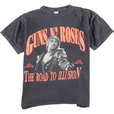 90年代 GUNS N' ROSES ガンズアンドローゼズ THE ROAD TO ILLUSION バンドTシャツ メンズL ヴィンテージ /eaa134825