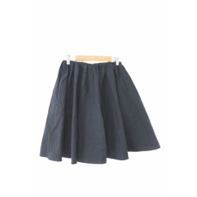 【中古】マカフィー MACPHEE トゥモローランド スカート ギャザー ひざ丈 34 黒 ブラック /MK レディース