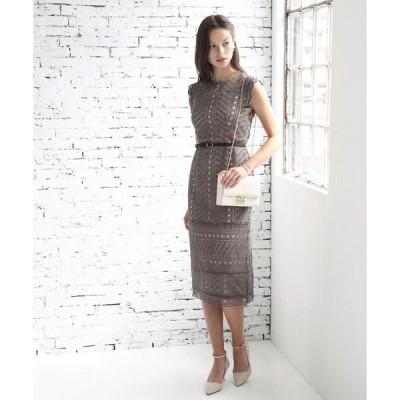 ドレス 幾何学模様柄ケミカルレース使い ナローラインワンピースドレス